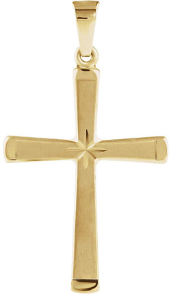 Engraved Hollow Cross 14k Yellow Gold Pendant