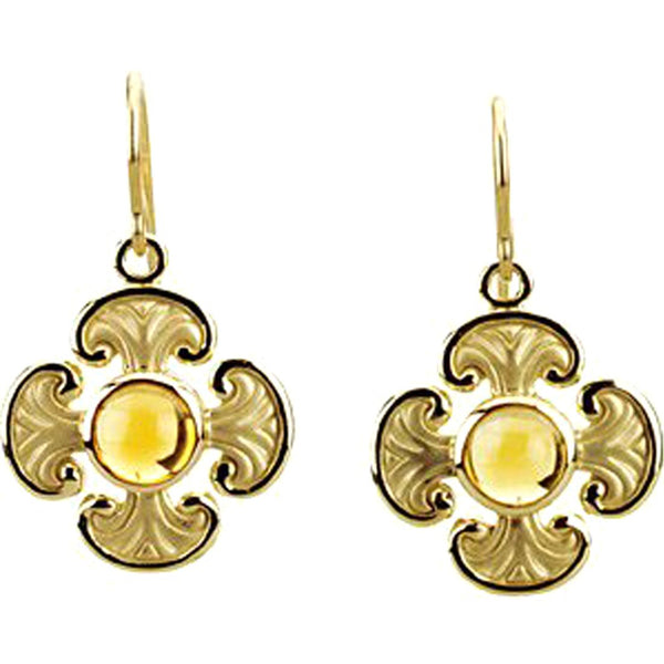 Citrine Cabochon Cross Earrings, 14k Yellow Gold