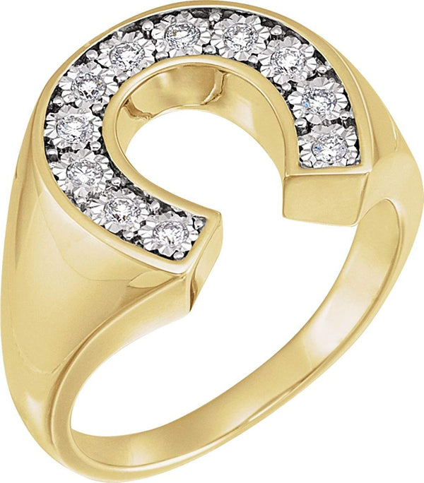 Men's Diamond Horseshoe Ring, 14k Yellow Gold and Rhodium-Plated 14k White Gold (.25 Ctw, HIJ Color, SI2-I1 Clarity)