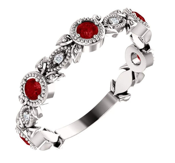 Ruby and Diamond Vintage-Style Ring, Rhodium-Plated Sterling Silver (0.03 Ctw, G-H Color, I1 Clarity)