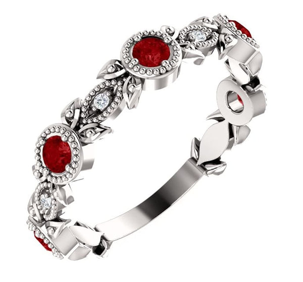 Ruby and Diamond Vintage-Style Ring, Rhodium-Plated 14k White Gold, Size 7.5