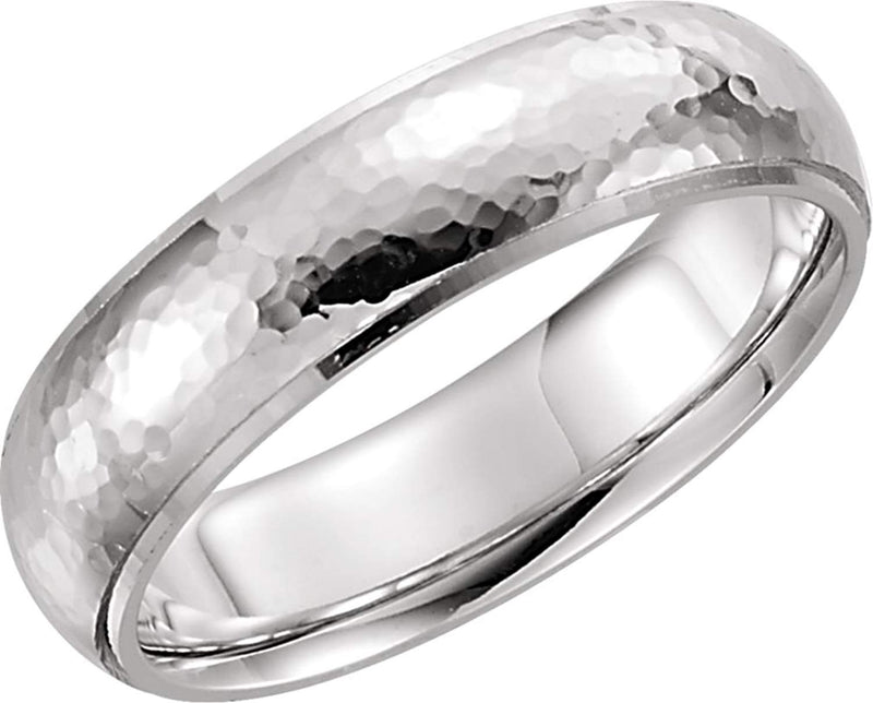 14k White Gold Hammer Finished 6mm Comfort Fit Dome Band, Size4
