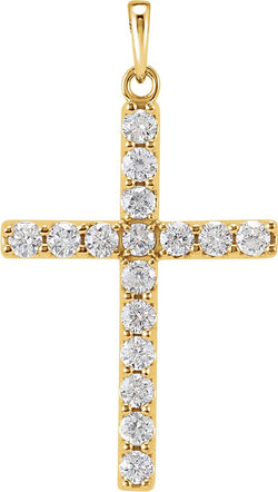 Diamond Cross Pendant, 14k Yellow Gold (0.33 Ctw, Color GH, Clarity I1)