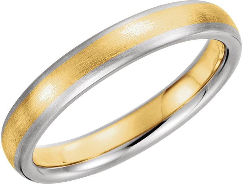 14k Yellow and White Gold Satin-Brushed 4mm Comfort-Fit Band
