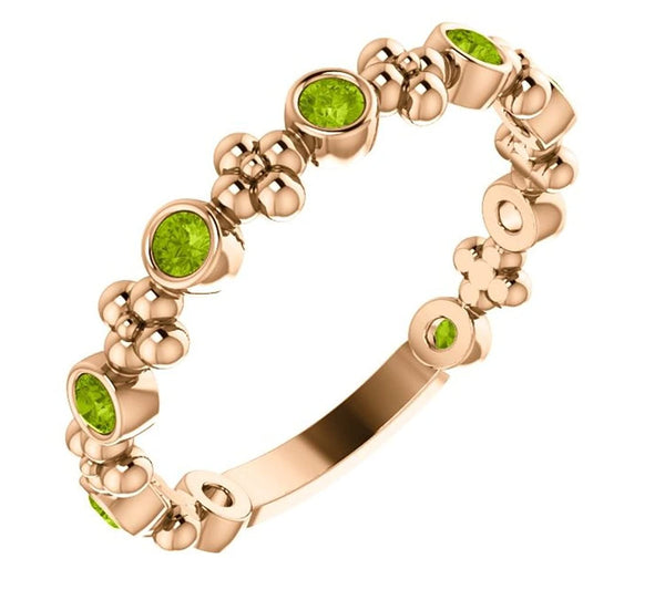 Genuine Peridot Beaded Ring, 14k Rose Gold