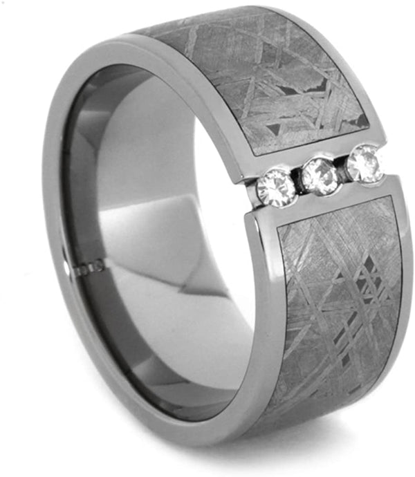 Titanium, Gibeon Meteorite, 3 Stone Forever One Created Moissanite 11 MM Comfort-Fit Tuxedo Band, Size 12.25