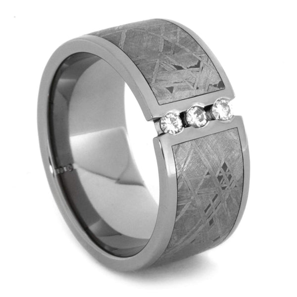 Charles & Colvard Moissanite,Gibeon Meteorite 11mm Comfort Fit Titanium Wedding Band, Size 10
