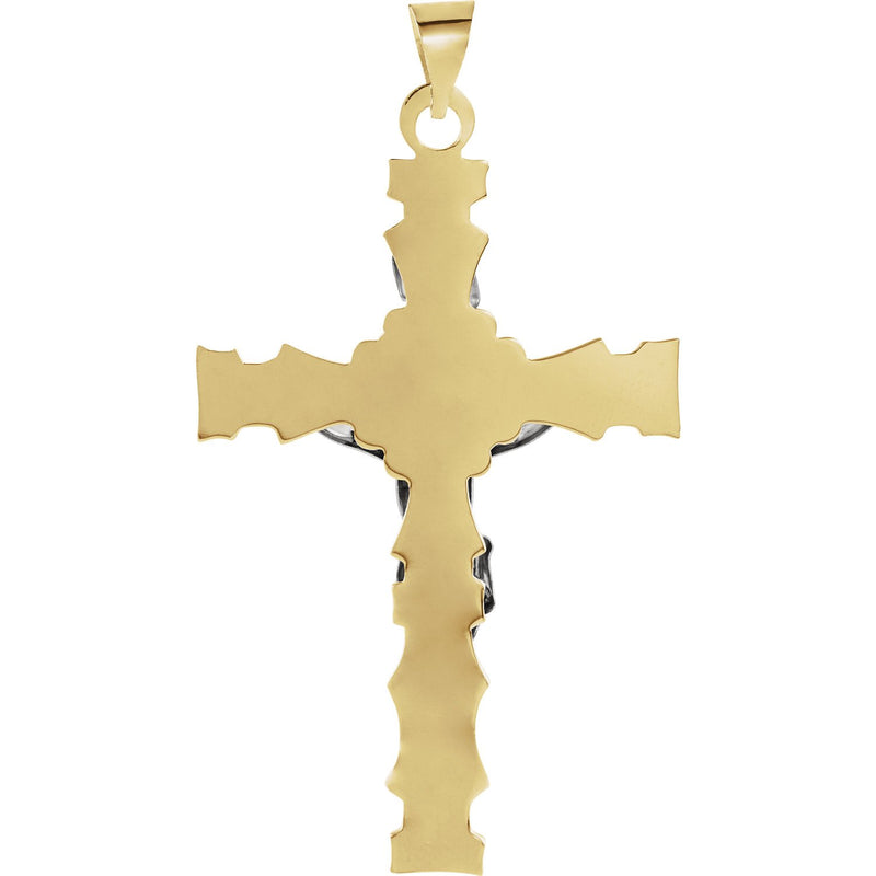 Two-Tone Crucifix 14k Yellow and White Gold Pendant(36X24MM)