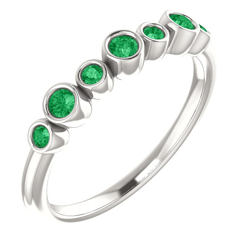 Created Chatham Emerald 7-Stone 3.25mm Ring, Rhodium-Plated 14k White Gold