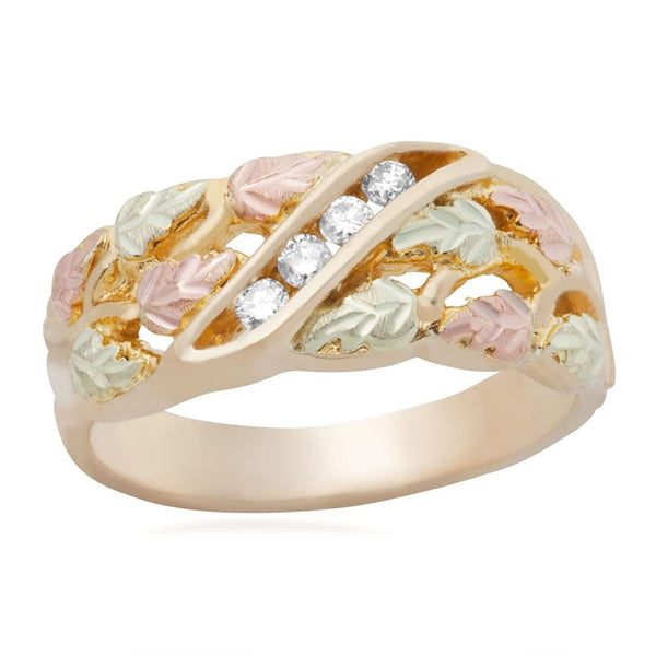 Women's 4-Stone Diamond Wedding Band, 10k Yellow Gold, 12k Pink and Green Gold Black Hills Gold Motif (.125 Ctw)