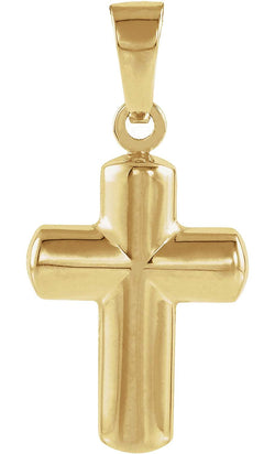 Latin Hollow Cross 14k Yellow Gold Pendant