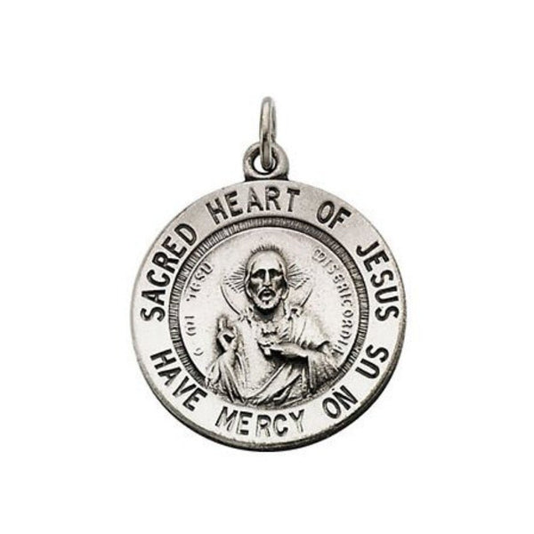 "Sterling Silver Sacred Heart of Jesus Necklace, 24"" (22 MM)"