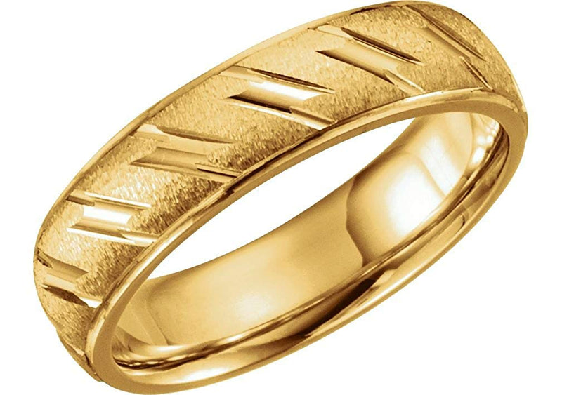 14k Yellow Gold Ice-Finish Grooved 6mm Comfort-Fit Band