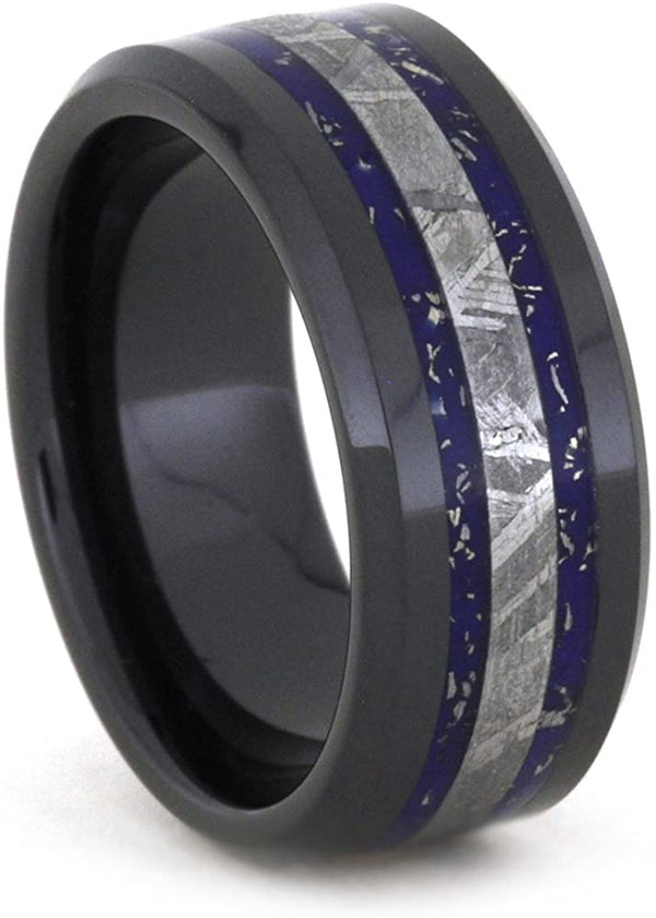 Blue and White Gold Stardust, Gibeon Meteorite 8mm Comfort-Fit Black Ceramic Wedding Band, Size 12