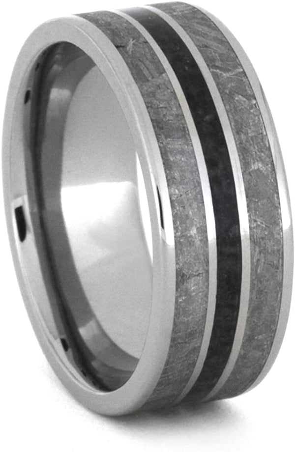 Onyx, Gibeon Meteorite 8mm Comfort-Fit Titanium Wedding Band, Size 4.25
