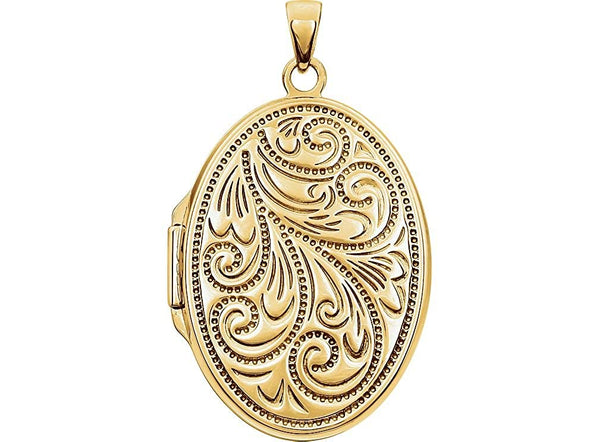 Yellow Gold Plated Sterling Silver Embossed Oval Locket