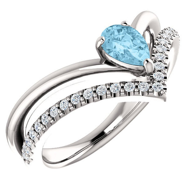 Aquamarine Pear and Diamond Chevron Sterling Silver Ring (.145 Ctw, G-H Color, I1 Clarity), Size 7.5