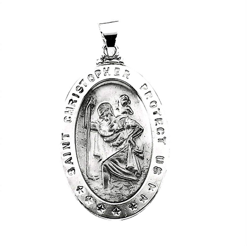 14k White Gold Hollow Oval St. Christopher Medal (28.75x20 MM)