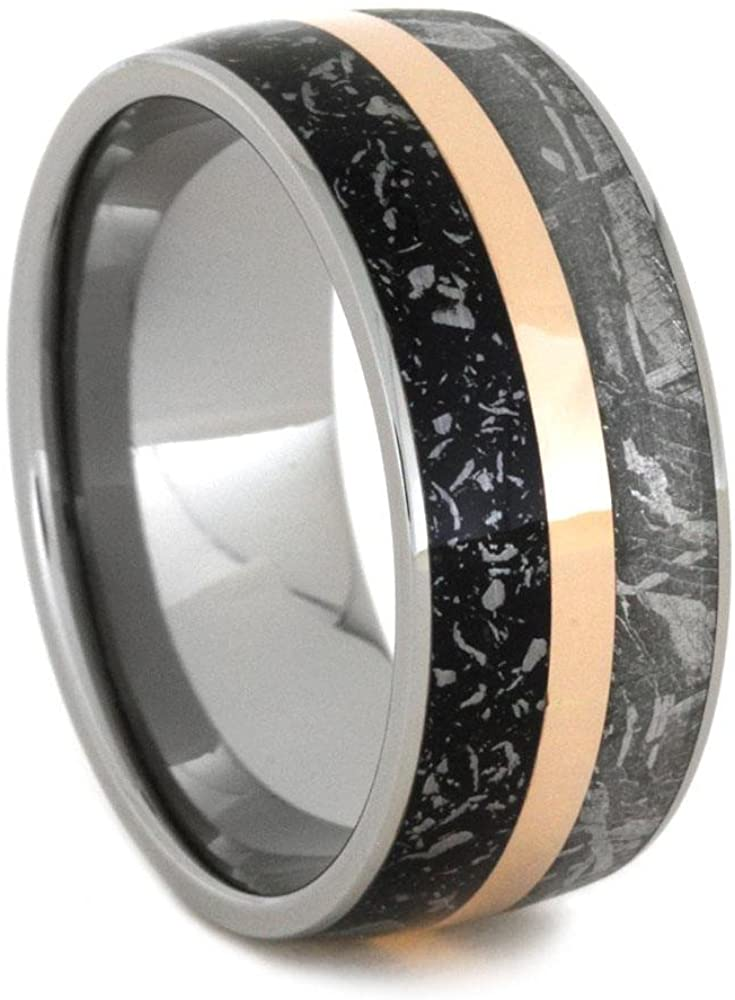 Diamond Eternity, Gibeon Meteorite, 14k Rose and White Gold Ring, Men's Gibeon Meteorite, 14k Rose Gold Stripe, Black Stardust, Titanium Band; His and Hers Wedding Set, M14-F7.5