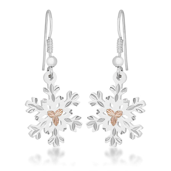 Snow Flake Earrings, Sterling Silver, 12k Rose Gold Black Hills Gold Motif