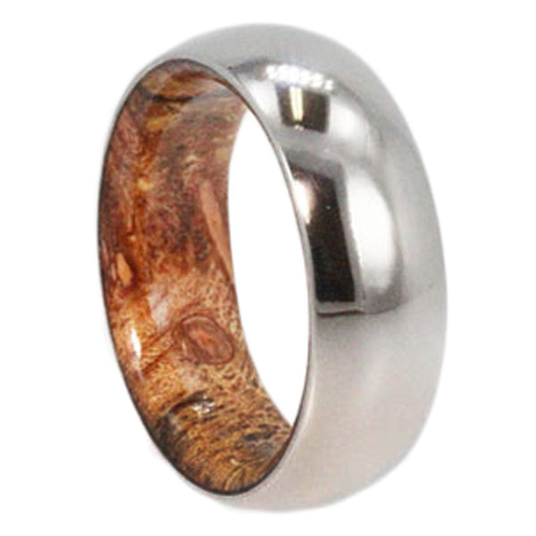 Zebrawood Inlay 8mm Comfort Fit Titanium Wedding Band, Size 10.25