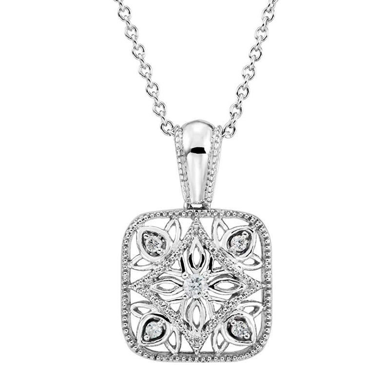 "The Men's Jewelry Store (for HER) Diamond Square Vintage Style Filigree Sterling Silver Pendant Necklace, 18"" (.05 Cttw)"