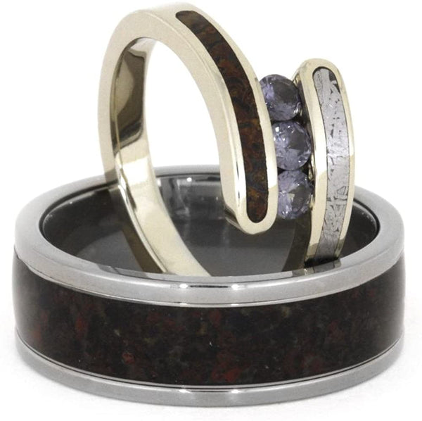 Chatham Created Alexandrite, Dinosaur Bone, Gibeon Meteorite 10k White Gold Ring, Dinosaur Bone Sterling Silver Band, Couples Wedding Set, M16-F7
