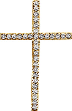 Diamond Latin Cross Pendant, 14k Yellow Gold (.75 Ctw, H+ Color, I1 Clarity)