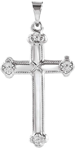 Milgrain Flower Cross 14k White Gold Pendant