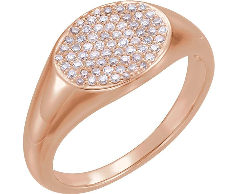 Diamond Pave Ring, 14k Rose Gold (1/3 Ctw, Color G-H, Clarity I1 ), Size 6