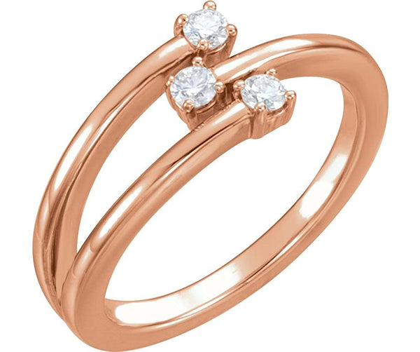 3-Stone Diamond Past, Present, Future Ring, 14k Rose Gold, Size 7 (.20 Ctw, GH Color, I1 Clarity)