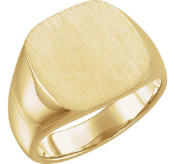 Men's Closed Back Square Signet Ring, 14k Yellow Gold (14mm) Size 8.75