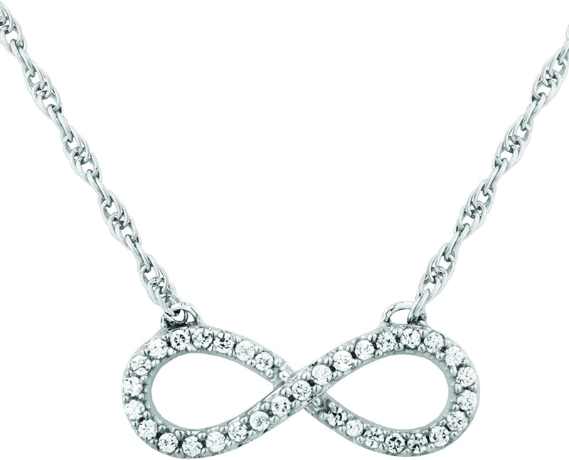 The Men's Jewelry Store (for HER) Petite Infinity CZ Pendant Necklace, Rhodium Plated Sterling Silver, 18""