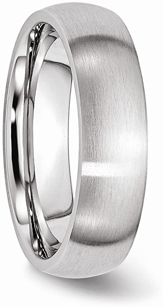 Men's Satin Chromium Cobalt Comfort-Fit 6mm Domed Ring Size 12.5