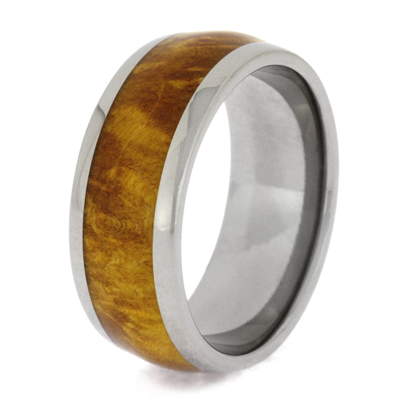 Gold Box Elder Burl Wood 8mm Comfort-Fit Titanium Wedding Band