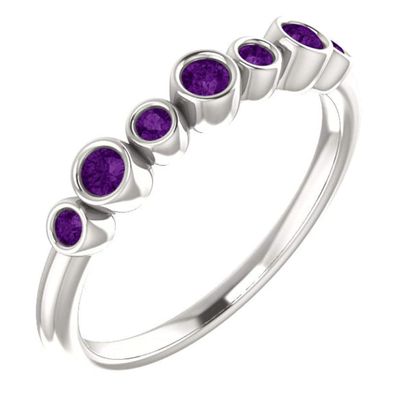 Platinum Amethyst 7-Stone 3.25mm Ring