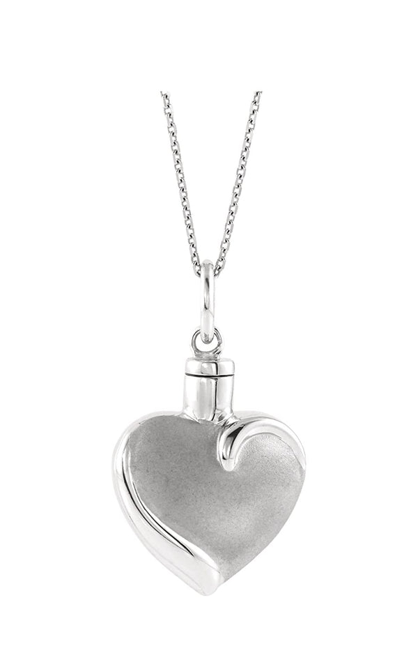 "Heart Ash Holder Rhodium-Plated 10k White Gold Pendent Necklace with Packaging, 18"" (27.00X16.00 MM)"