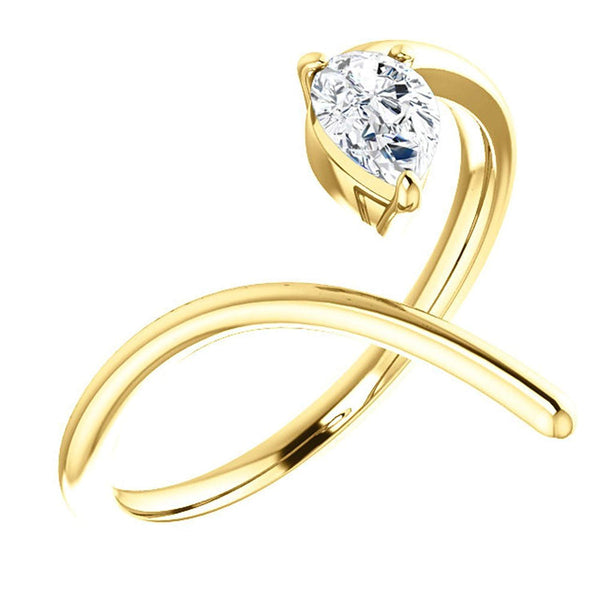 Pear Diamond Negative Space Ring, 14k Yellow Gold, Size 6