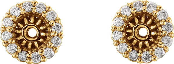 Diamond Cluster Earring Jackets,14k Yellow Gold (4.1MM) (0.16 Ctw, G-H Color, I2 Clarity)