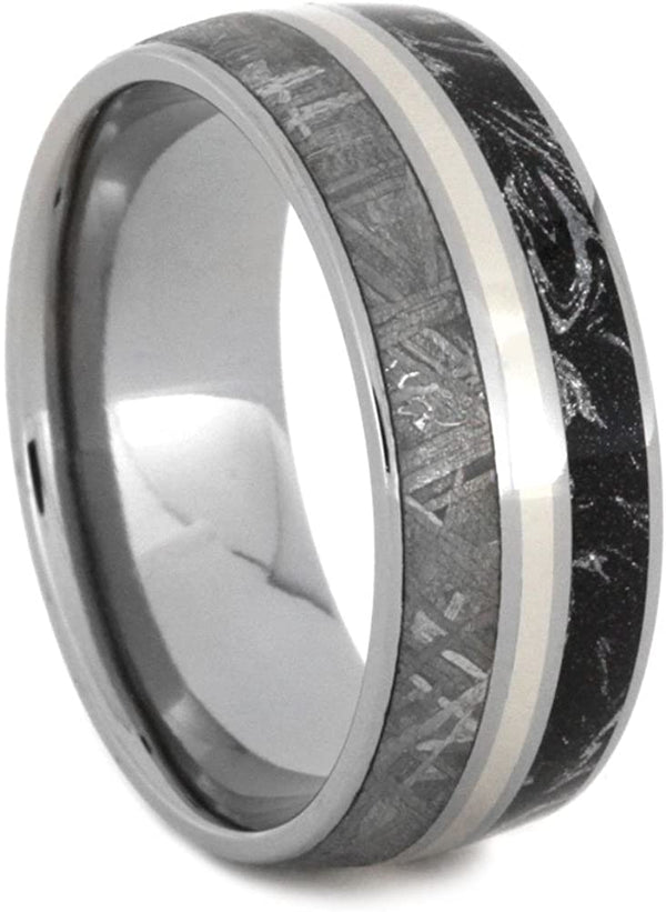 Gibeon Meteorite, Black and White Composite Mokume, 14k White Gold 8mm Comfort-Fit Titanium Wedding Band, Size 7.25