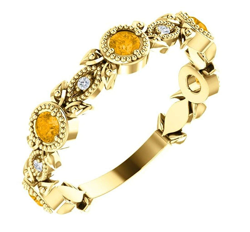 Citrine and Diamond Vintage-Style Ring, 14k Yellow Gold (0.03 Ctw, G-H Color, I1 Clarity)