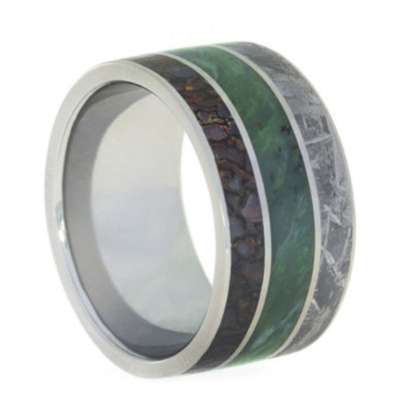 Nephrite Jade, Gibeon Meteorite, Dinosaur Bone 12mm Comfort-Fit Titanium Wedding Band