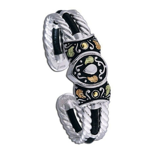 The Men's Jewelry Store (for HER) Black Hills Gold Rope Trimmed Cuff Bracelet, Sterling Silver, 10k Yellow Gold, 12k Green and Rose Gold