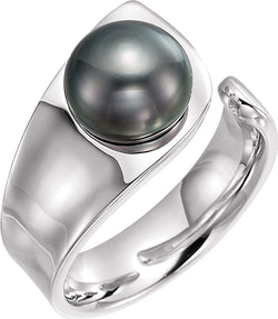 Tahitian Cultured Pearl Open Shank Ring, 9.00 MM - 10.00 MM, Sterling Silver, Size 6