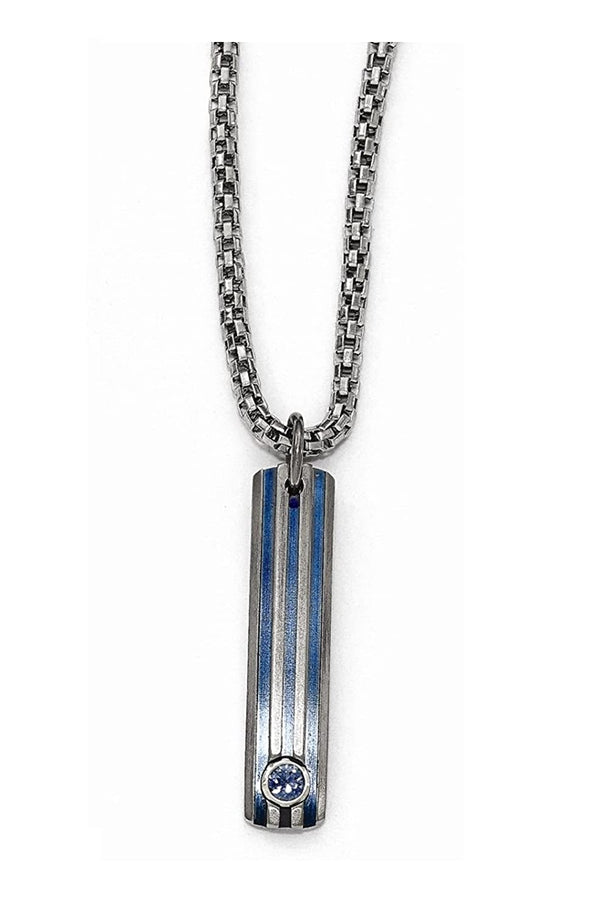 "Edward Mirell Titanium Grooved Anodized and Blue Sapphire Pendant Necklace, 16""-18"""