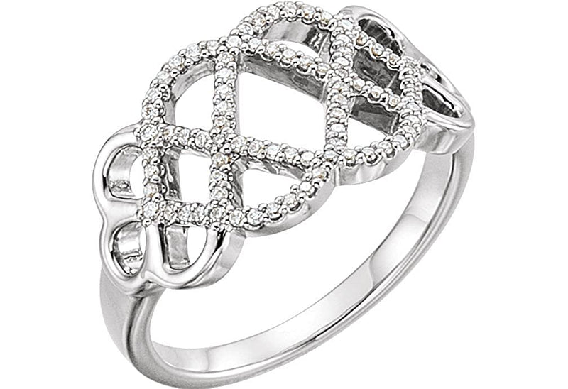 Diamond Woven Ring, Rhodium-Plated 14k White Gold (1/5 Ctw, Color G-H, Clarity I1), Size 8