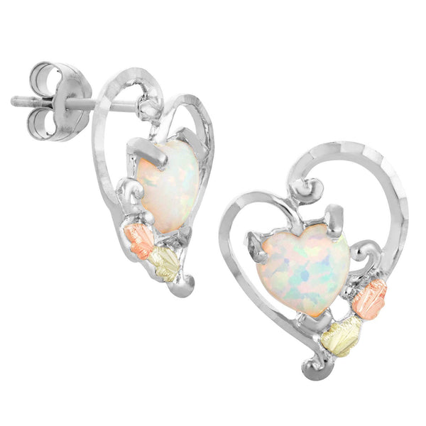 Created Opal Heart Earrings, Sterling Silver, 12k Green and Rose Gold Black Hills Gold Motif