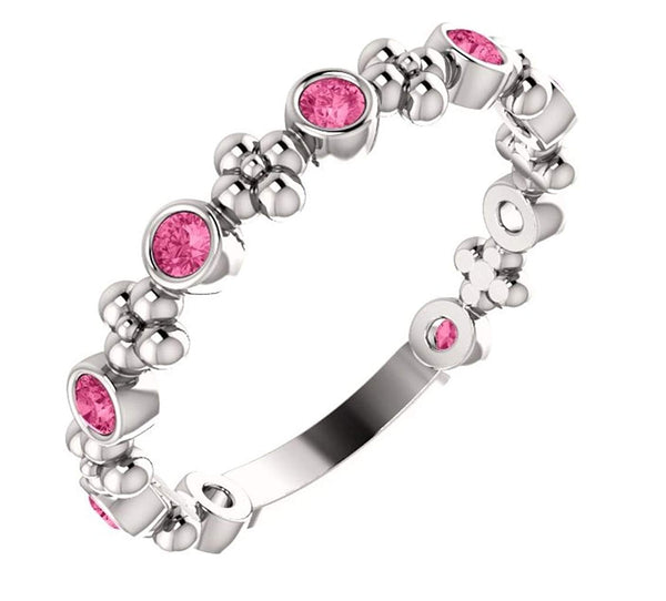 Genuine Pink Tourmaline Beaded Ring, Rhodium-Plated 14k White Gold