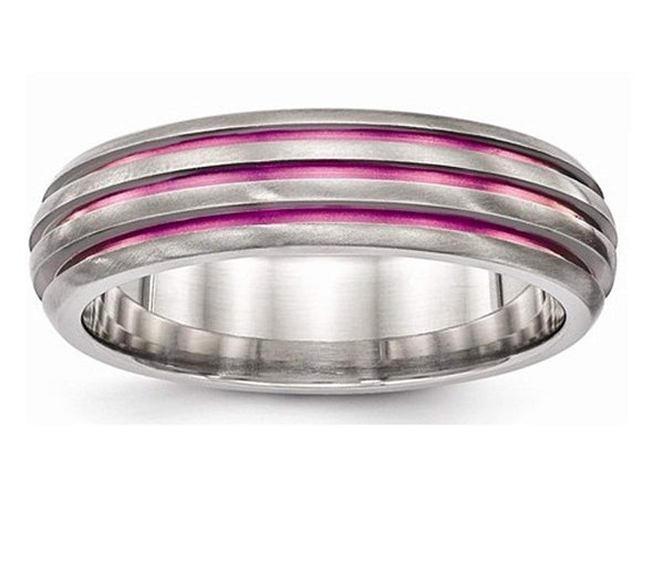 Edward Mirell Titanium Triple Groove Pink Anodized 6mm Wedding Band