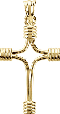 Tubular Cross 14k Yellow Gold Pendant (33.75X23.25 MM)